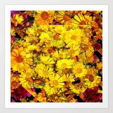 Rich Golden Yellow  Coreopsis Flowers Modern Art Art Print