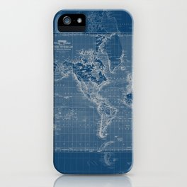 Dark Blue World Map iPhone Case