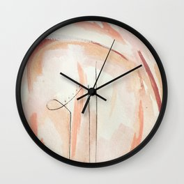 Aly [4]: minimal | pinks | white | black | mixed media | abstract | ink | watercolor | wall art Wall Clock