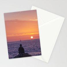 Man Enjoying Sunset Stationery Cards