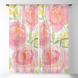 Pink Peonies - Watercolor Floral Print Sheer Curtain