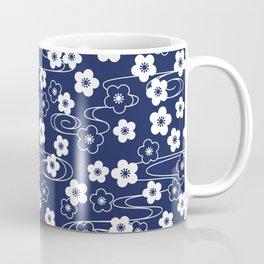 Blue Sakura Kimono Pattern Coffee Mug