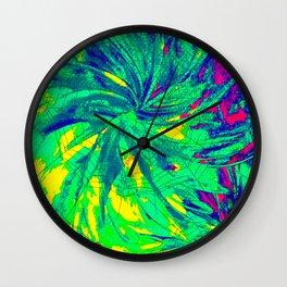 WEB OF LIES - Neon Vibrant Abstract Acrylic Painting Digital Deceit Spiderweb Manipulative Beauty Wall Clock