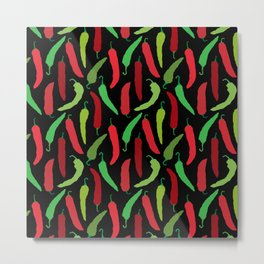 New Mexico Christmas Hatch Chiles in Black Metal Print