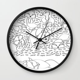 the 11th fox - the sleeping version Wall Clock