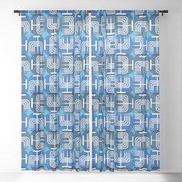 Mid Century Menorah for Hanukkah Sheer Curtain