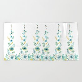 Blue Floral Twist Beach Towel