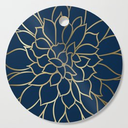 Floral Prints, Line Art, Navy Blue and Gold Cutting Board