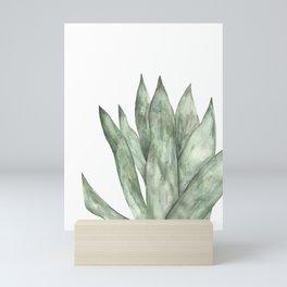 Aloe Vera Plant Artwork, Green Leaf Watercolour Wall Art, Pastel Colour Artpiece Mini Art Print