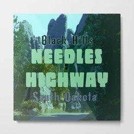Enchanted Needles Highway Retro Travel Metal Print