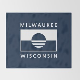Milwaukee Wisconsin - Navy - People's Flag of Milwaukee Throw Blanket