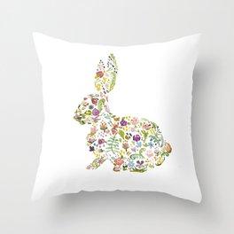 Springtime Flower Bunny Throw Pillow