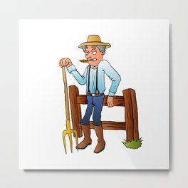 Cartoon Farmer Character with pitchfork Metal Print