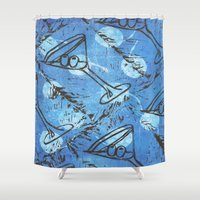 martini Shower Curtains featuring moonlite martini by Kim Codner Designs