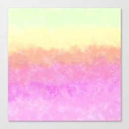Abstract pink coral sunshine yellow watercolor brushstrokes Canvas Print