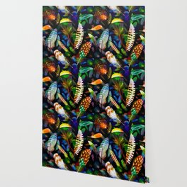 Colourful Feathers On Dark Navy Seamless Pattern Wallpaper