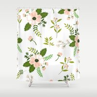 flower pattern Shower Curtains featuring Flower Pattern by Jenna Davis Designs