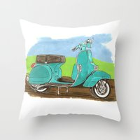 vespa Throw Pillows featuring Vespa by JasonKoons