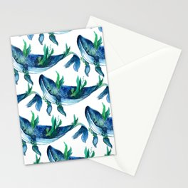 Blue Humpback whale and plant. seamless pattern  Stationery Cards