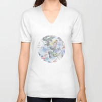 girl power V-neck T-shirts featuring Girl power by Dreamy Me