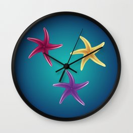 Colorful Starfishes Wall Clock