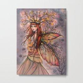 Autumn Queen Fairy Fantasy Art Metal Print