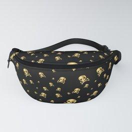 Gold Pirate Skull on Black Fanny Pack