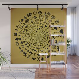 Mandala of Love Symbols from Ancient Cultures on Papyrus Wall Mural