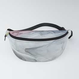 Pastel Blush, Grey and Blue Ink Clouds Painting Fanny Pack