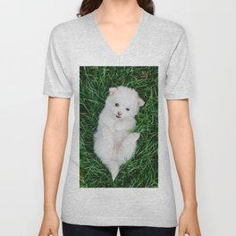 Fluffy White Cute Puppy Unisex V-Neck