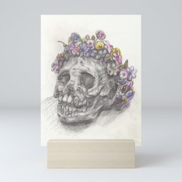 Skull With A Flower Crown - Drawing Mini Art Print