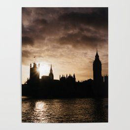 View over Westminster, Big Ben, London at Sunset Poster