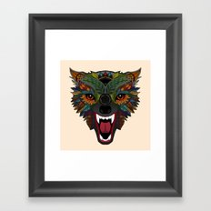 wolf fight flight ecru Framed Art Print