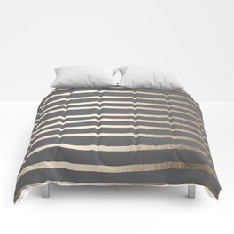 Simply Drawn Stripes White Gold Sands on Storm Gray Comforters