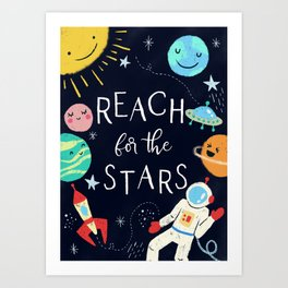 Reach For The Stars Nursery Quote Art Print