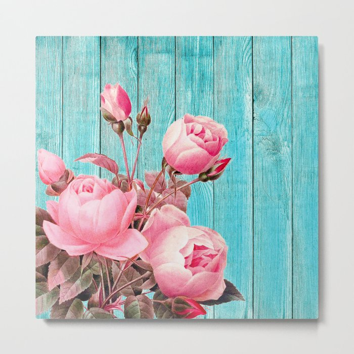 Pink Roses On Turquoise Blue Wood Metal Print