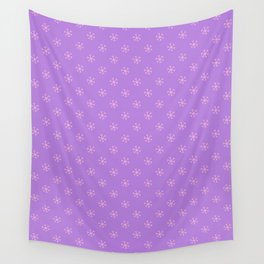 Cotton Candy Pink on Lavender Violet Snowflakes Wall Tapestry