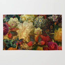 """Baroque Spring of Flowers and Butterflies"" Rug"