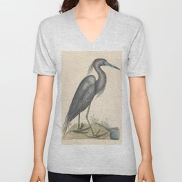 Blue Heron Vintage Bird Print by Mark Catesby, 18th Century Unisex V-Neck