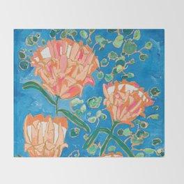 Four Orange Proteas Throw Blanket
