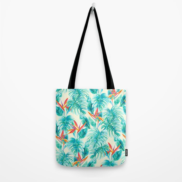 Tropical Paradise Pale Yellow Tote Bag