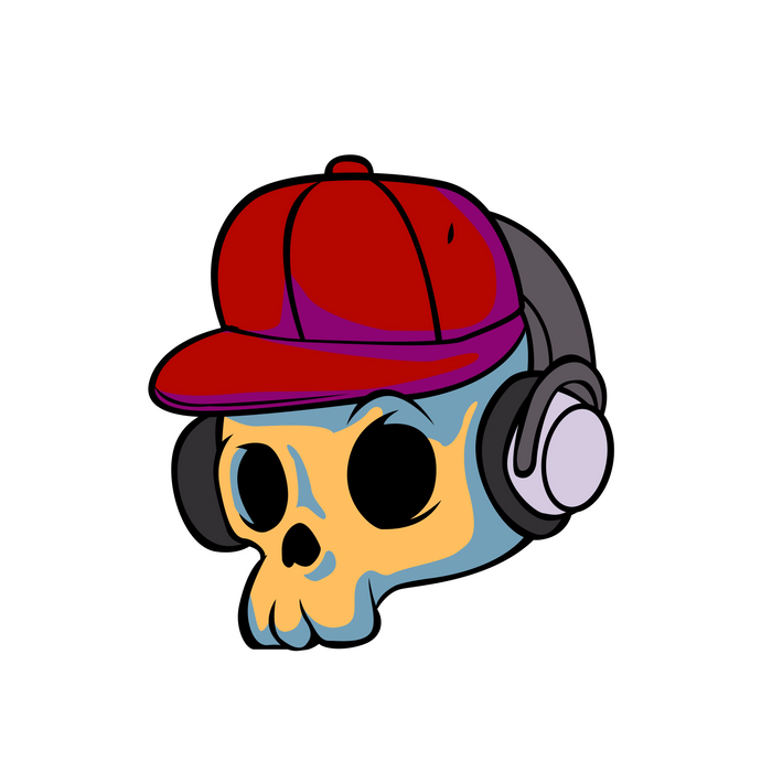 cartoon skull with Earphones and hat Comforters