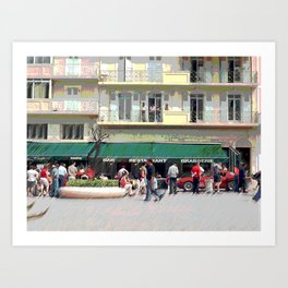 Activity in the Town Square Art Print