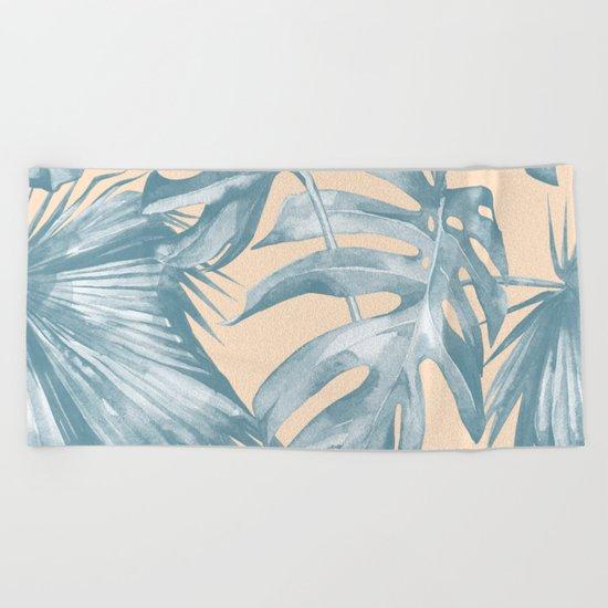Tropical Leaves Ocean Blue on Citrus Beach Towel
