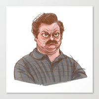 swanson Canvas Prints featuring Swanson by Hannah Joe