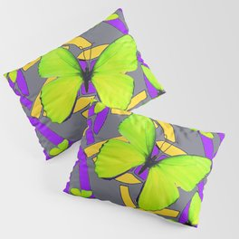 Lime Yellow Butterflies Purple-grey-gold Celtic Art Pillow Sham