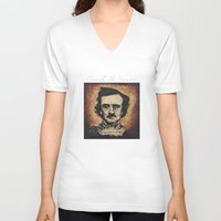 poe V-neck T-shirts featuring Poe by Colunga-Art