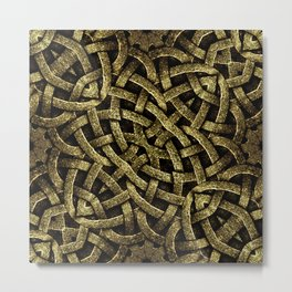 Ancient Style Arabesque Stone Ornament in Gold Tones Metal Print