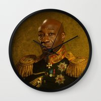 replaceface Wall Clocks featuring Michael Clarke Duncan - replaceface by replaceface