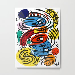 Joyful Life Abstract Art Illustration for Kids and Everyone Metal Print